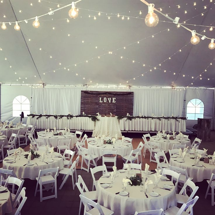 Norland Garden Tent Wedding with Pallet Backdrop  #lachefs #lachefsdecor #thenorland #thenorlandhistoricestate #gardentent #weddingtent #weddingvenue #wedding #weddingreception #garden #cafelights #cafelighting #greenery #palletbackdrop #backdrop #headtable #guesttables #foldingchairs #gardenchair
