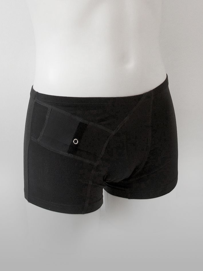 AnnaPS - Boxer Shorts Boxi Black underpants with short legs and lining in the front with integrated pocket to wear insulin pump. Easy to sleep, without being disturbed, Secure you tube and feel nice.