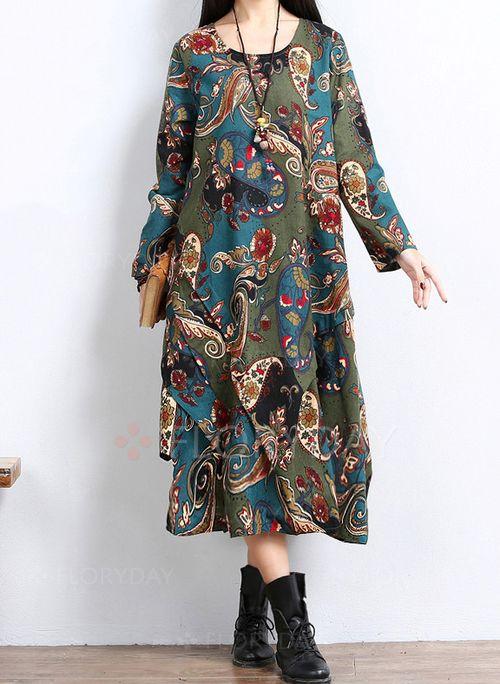 Платья - $40.99 - Винтажное платье из лена длины миди с цветочным принтом с длинными рукавами (1955113456)