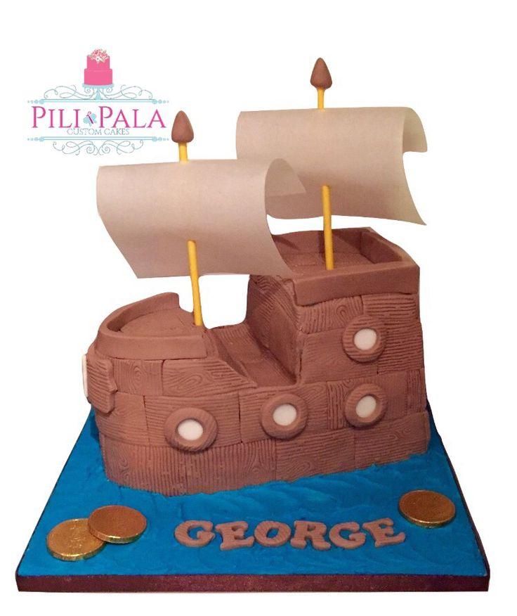 3D pirate ship 1st birthday cake