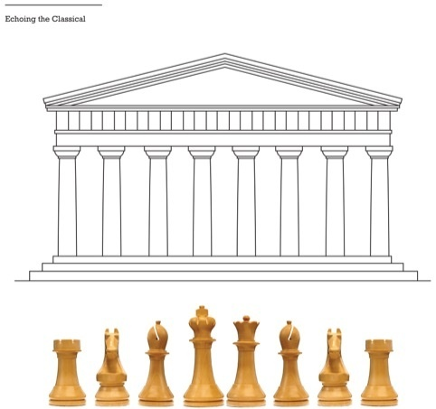 The heights of the pieces reflects the facade of the Parthanon - World Chess set by Daniel Weil