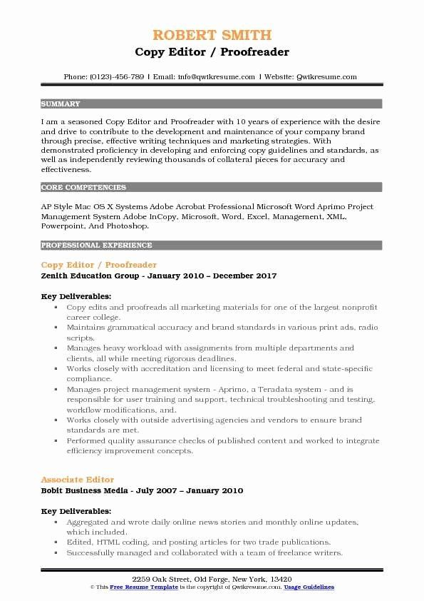 Copy Of A Resume Format Unique Copy Editor Resume Samples In 2020 Counselor Job Description Job Resume Samples Sales Resume Examples
