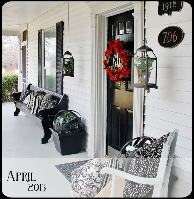 Man I Really Need To Work On My Porch Love That Church Pew And The Hanging Lanterns For