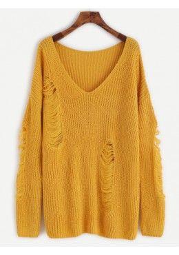 Pullover mit zerrissen Design 2017 Gelb