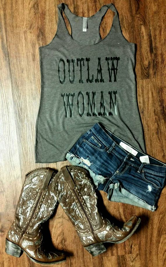Outlaw Woman Women's Racer Back Tri-Blend by JesusandGypsySoul