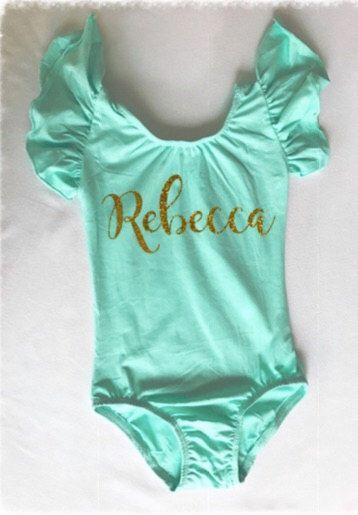 Personalized leotard toddler girls ruffle sleeve gymnast dance dancewear gymnastics glitter name custom by TheLeotardLady on Etsy https://www.etsy.com/listing/452030756/personalized-leotard-toddler-girls
