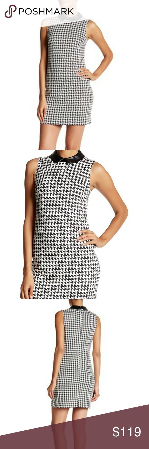 """💕CeCe Cynthia Steffe Sleeveless Houndstooth Dress Super sexy yet professional!!! Great for work or after hours!  6=About 33"""" shoulder to hem; about 17"""" pit to pit 8=About 33"""" shoulder to hem; about 18"""" pit to pit 10=About 33.5"""" shoulder to hem; about 19"""" pit to pit 12=About 33.5"""" shoulder to hem; about 20"""" pit to pit  -Allover houndstooth pattern with faux leather collar -Peter Pan collar -Sleeveless -Concealed back zip closure -Lined -Polyester/cotton/faux leather -Hand wash Cynthia Steffe…"""
