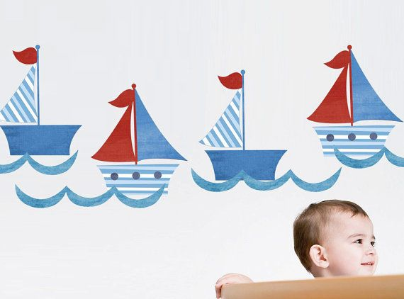 Sailboats Fabric Kids Wall Decals Stickers  by ToodlesDecalStudio, $36.50