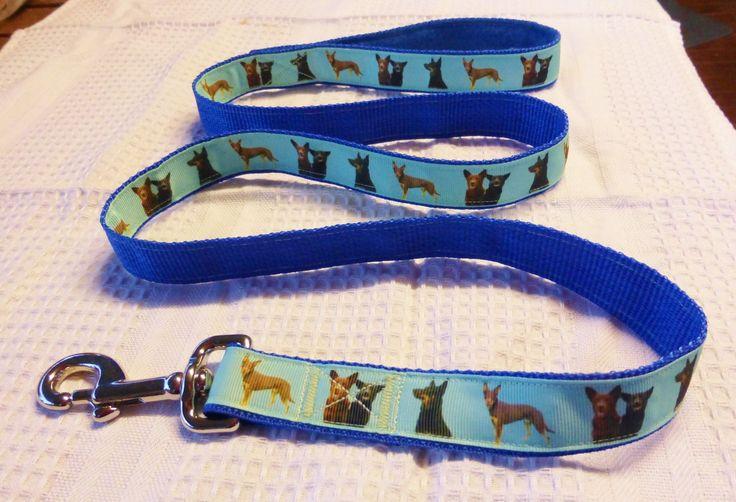 Kelpie custom print ribbon lead on blue webbing $25