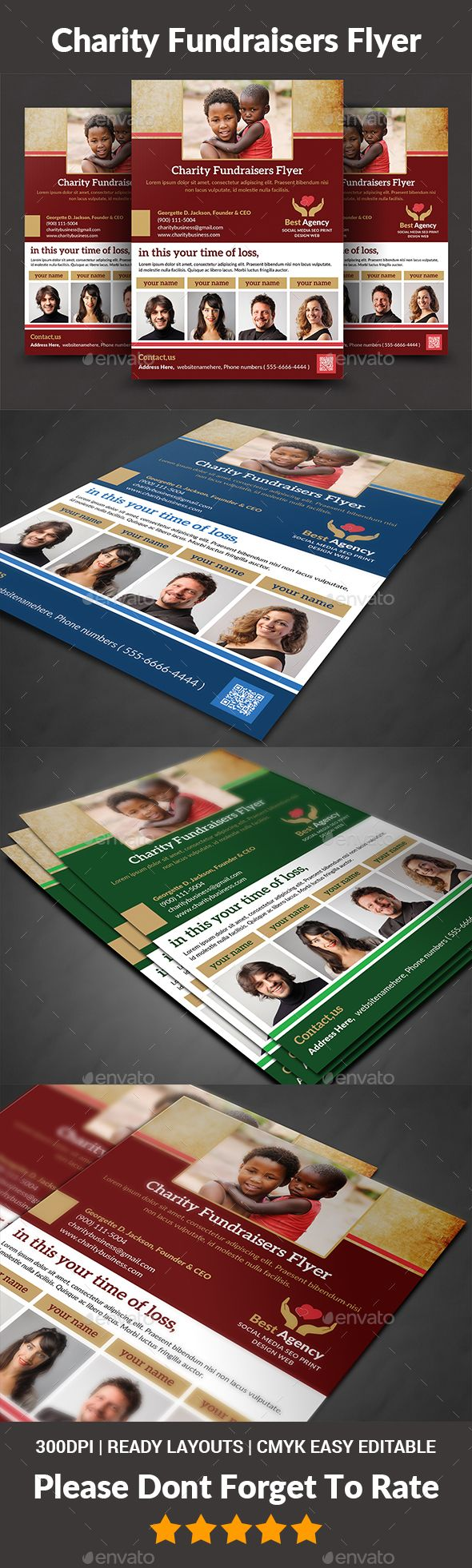 Charity Flyer Templates  is a professional, clean, & creative Flyer template designed to make a good impression.  ................................................  Features :  - A4 size  - Editable in adobe photoshop  - Professional & clean design  - Uses free