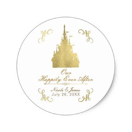 Gold Foil Princess Flag Castle Storybook Wedding Classic Round Sticker - shower gifts diy customize creative
