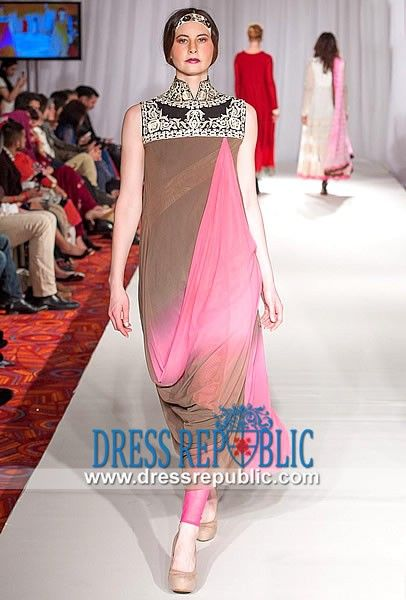 Auburn n Flamingo Turtle Neck Shirt with Churidar Pajamas South Asian Party wear Dresses 2014 from P