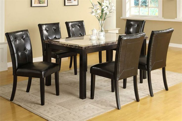 Dining Table Sets | Atlas I Faux-Marble Black Dining Table Set