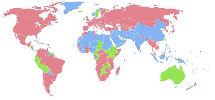 Sex ratio total population. Pink = Female higher than male Green = Equal Blue = Male higher than female