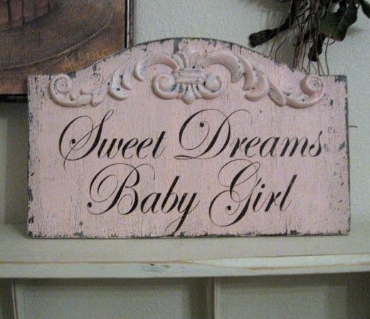 SWEET DREAMS Baby Girl Pink Shabby Custom by thebackporchshoppe, $38.95