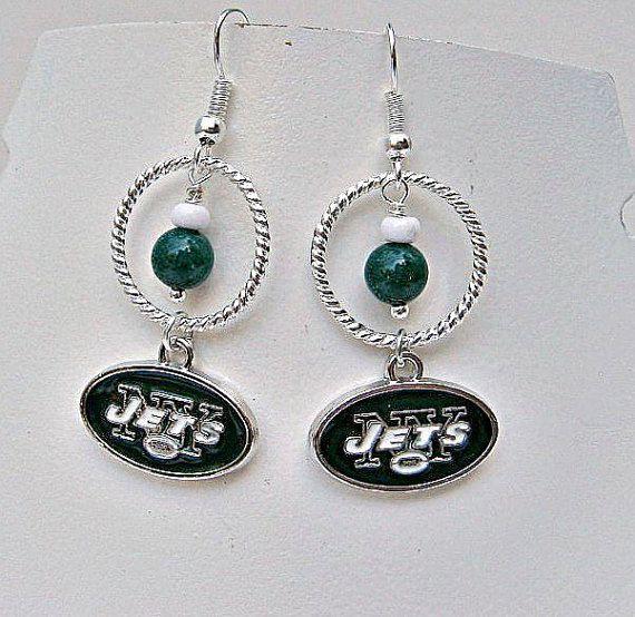 NFL NY Jets Gemstone and Charm Football Earrings by SportsJewelryStudio.  etsy.com/shop/sportsjewelrystudio