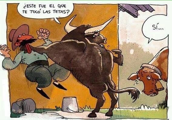 chiste grafico granjero y toro