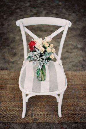 Beige & White Striped Chair Cushion Chairs | Lovebird Weddings