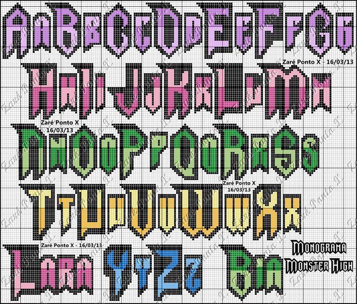 Monster High alphabet pattern by Carina Cassol -