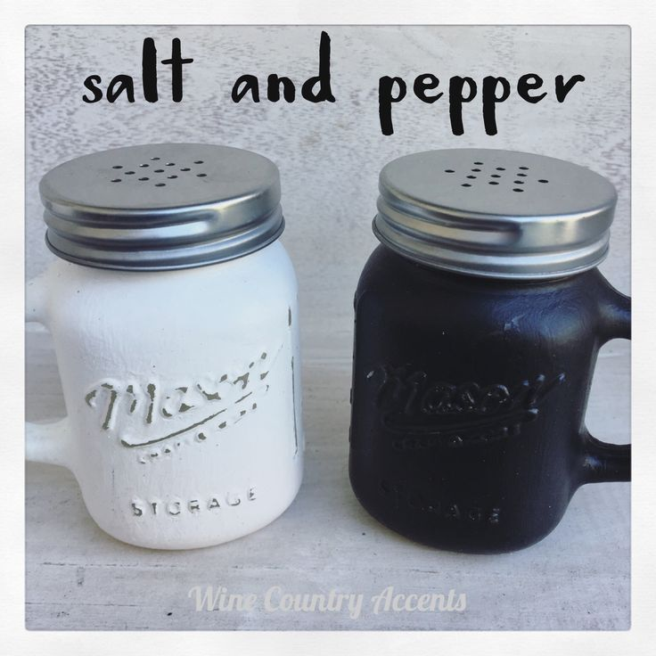 Salt and Pepper Mason Jars... a perfect little rustic touch to any kitchen! www.winecountryaccents.etsy.com