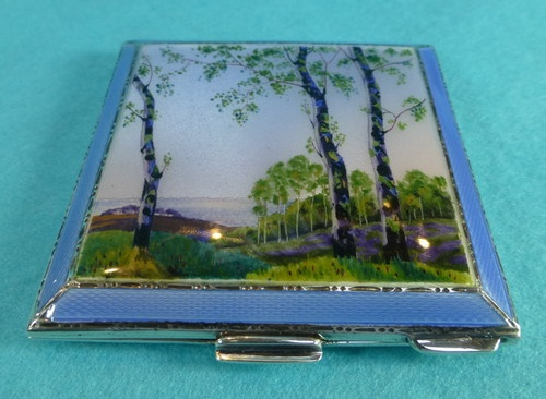 Art Deco Sterling Silver Guilloche Enamel Compact  hallmarked for 1949 and maker's mark HCD for Henry Davies.