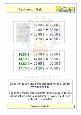 Rechnen mit Geld (ZE,Z0€+ZE,Z0€) - ©2011-2016, www.mathiki.de - Ihre Matheseite im Internet #math #money #geld #euro #cent #arbeitsblatt #worksheet