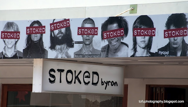 Stoked poster above their shop in Jonson Street, Byron Bay in February 2012