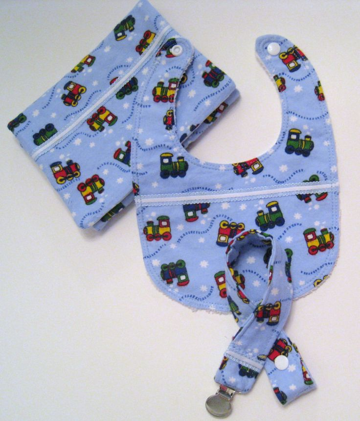 Baby boy bib, baby pacifier clip, baby burp cloth, blue burp cloth, blue pacifier clip, blue bib for boys, Trains flannel bib for boys, by KuteThings on Etsy