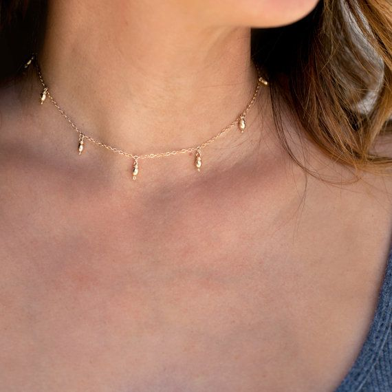 Delicate Gold Choker Necklace, Dainty Choker Necklace, Dew Drop Choker Necklace, Gold Choker, Sterling Silver,14K Gold Fill, Gift for her