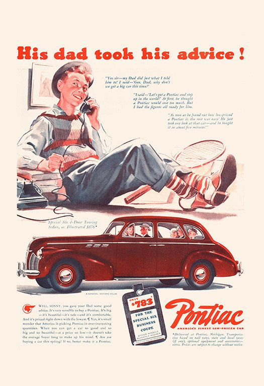 VINTAGE PONTIAC CAR Ad Classic American Car by EncorePrintSociety