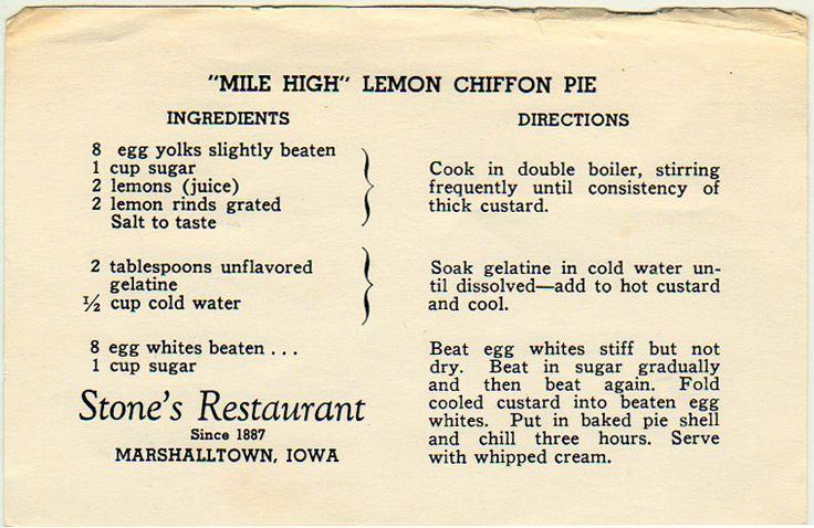 """Mile High"" Lemon Chiffon Pie - Stone's Marshalltown recipe"