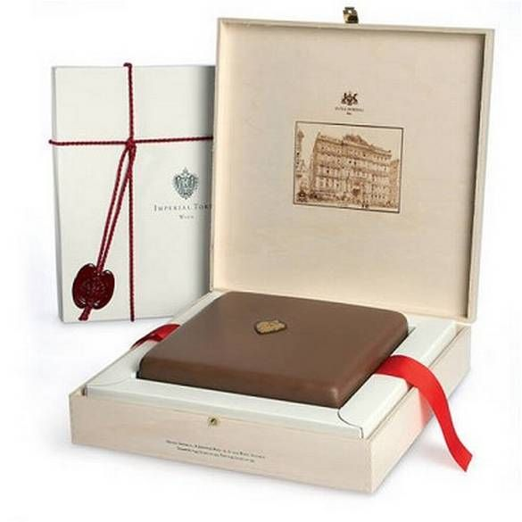 A popular dessert at Vienna's Hotel Imperial is its handmade Imperial Torte. Also a popular present, the chocolate cake keeps for weeks so guests initially defeated by its large size and rich taste can save some for later. Anyone wishing to gift it to others can send it in the custom-made wooden box shown here.