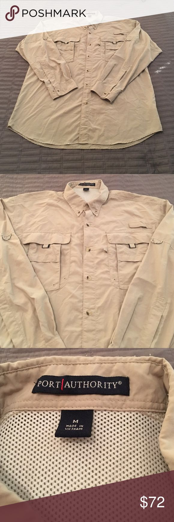 🐠SALE🐠 Port Authority light weight shirt Tan shirt for fishing, camping, or any outdoor activity. It's light weight and has ventilation on the top back section. All button attached and included. There are two extra on the bottom front inside. Port Authority  Shirts