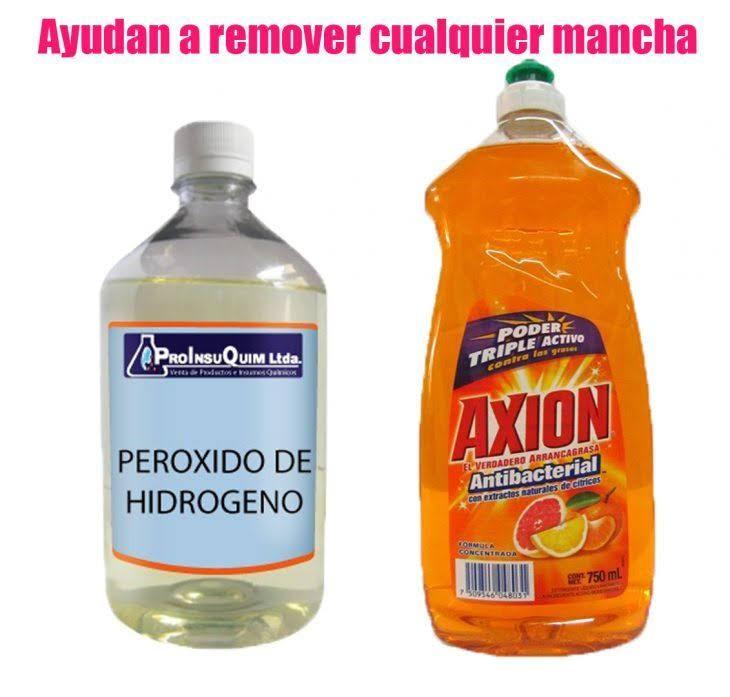 Removedor de manchas casero con jabón y peróxido de hidrogeno