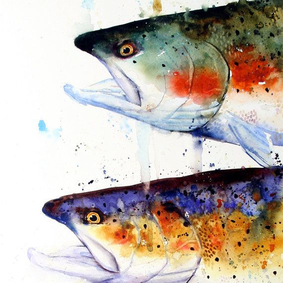 TROUT Watercolor Print by Dean Crouser by DeanCrouserArt on Etsy