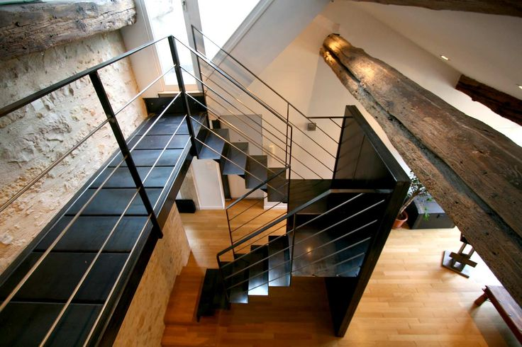 Architecture d 39 int rieur duplex lyon escalier sur limon central en ac - Escalier a limon central ...