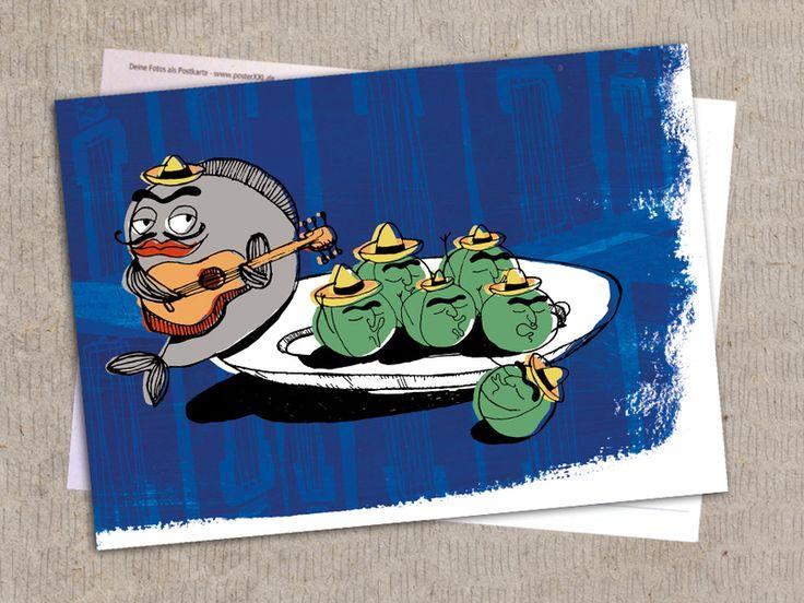 """Postkarte """"Mexikanische Musikband"""" von Granatapfel - Onlineshop mit Illustriertem. auf DaWanda.com"""