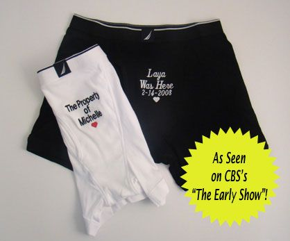 Cotton is a 2nd anniversary gift - so these are just perfect!  Personalized Boxers - Love Em!