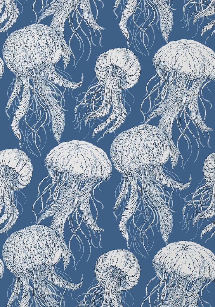 JELLY FISH BLOOM, Navy, T13171, Collection Summer House from Thibaut