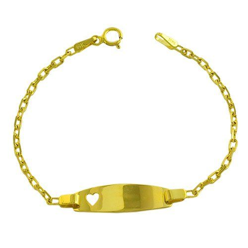 14 Karat Yellow Gold Cable Link Baby Id With Heart Bracelet Inch