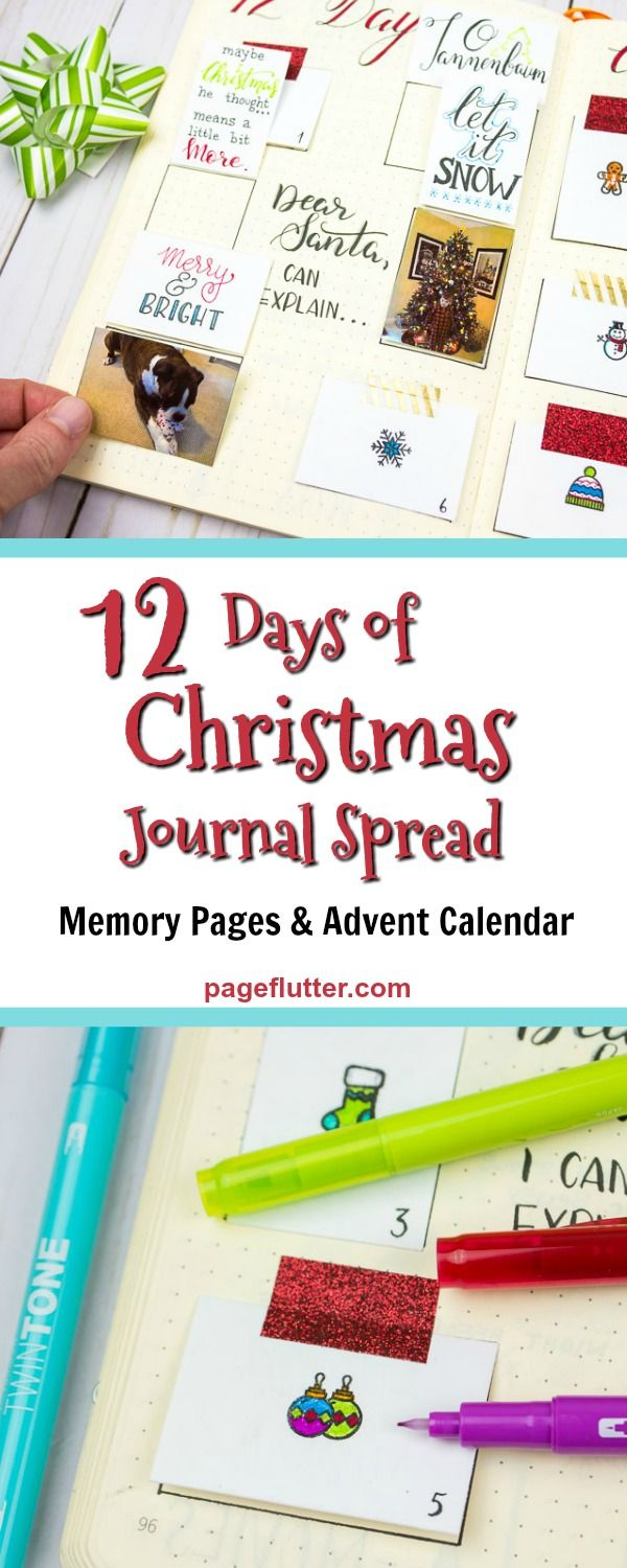 Holiday Journaling Diy Advent Calendar And Memory Keeper Page Flutter Diy Advent Calendar Christmas Journal Organization Bullet Journal