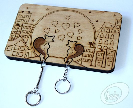 Wall Key Holder Wall Key Holder Love Story Laser cut by Oksis
