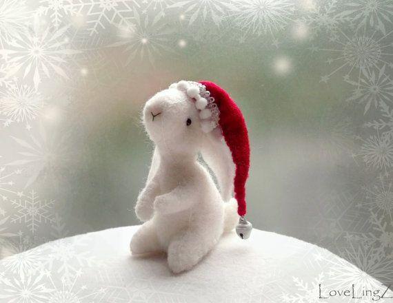 Conejito de Santa, blanco fieltro conejo, sombrero de la Navidad de elfos hadas…