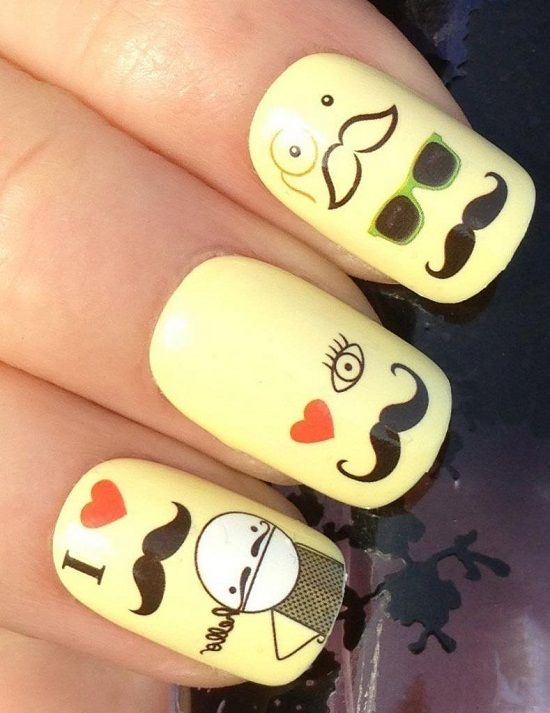 72 best mustache nail art ideas images on pinterest mustache 20 cute mustache nail art tutorials prinsesfo Image collections