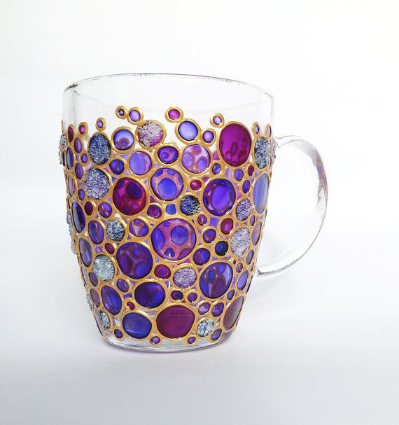 Hand painted Sun catcher Initial Coffee Mug Coloured by ArtMasha