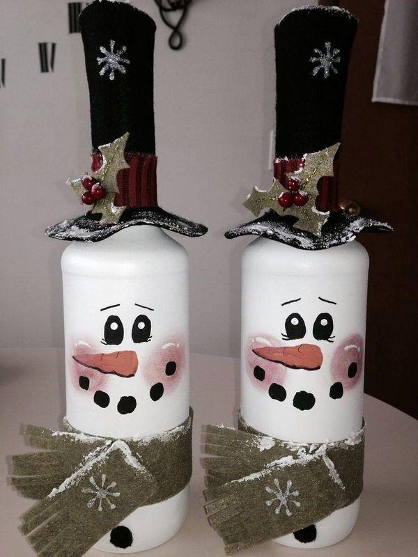 101 Ideen Für Winterdeko Selber Machen Geben Sie Den Start Der Bastelsaison Diy Weihnachtsdeko Basteln Pinterest Christmas Bottle Crafts
