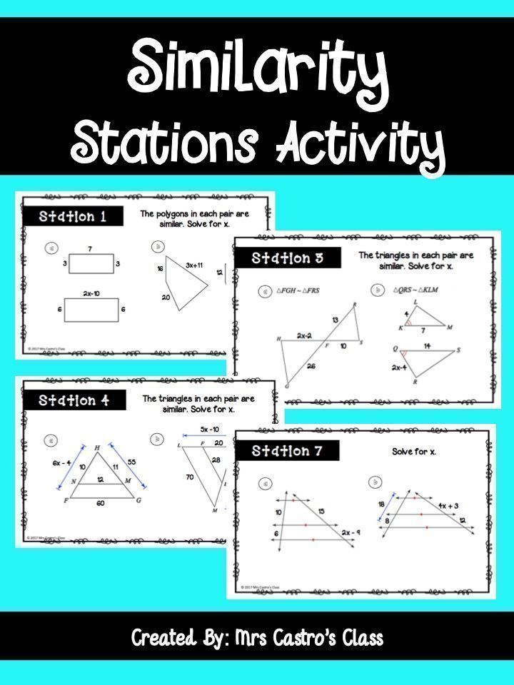 Similarity And Similar Triangles Stations Activity Similar Triangles Station Activities Teaching Geometry Congruent and similar figures worksheets