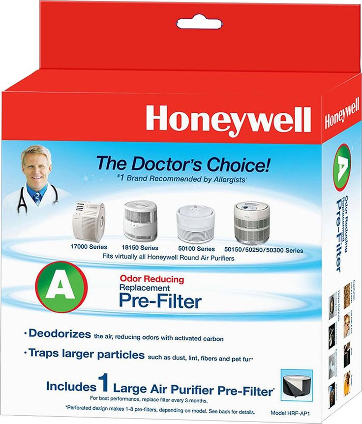 Honeywell - Carbon Prefilter for Most Honeywell Round, QuietCare and SilentComfort Air Purifiers - Black