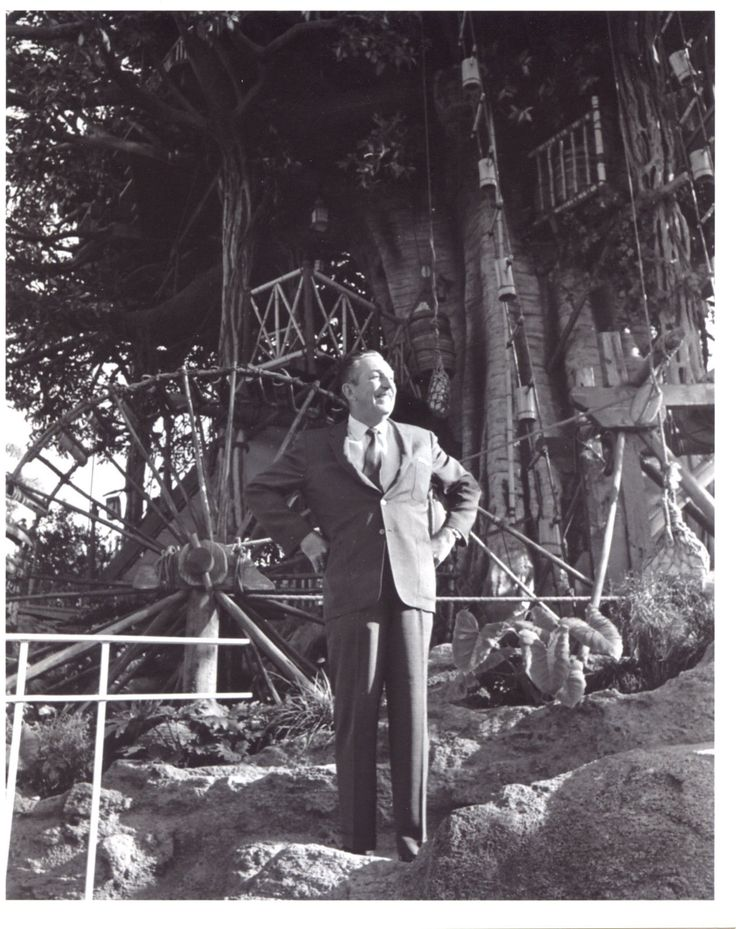 Walt in front of the Swiss Family Robinson Treehouse. Unfortunately it was changed some years ago to represent the Tarzan movie. I much prefer the original theme.