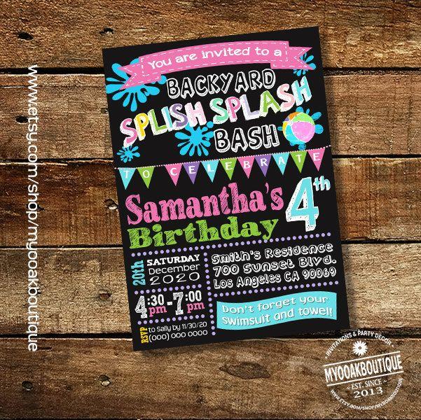 Splish Splash Backyard Bash Birthday Party Invitation Pool Party